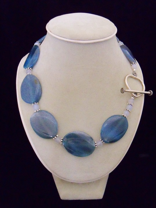 TealAgateslices,BlueChalcedonybeads,SterlingToggle,20in.